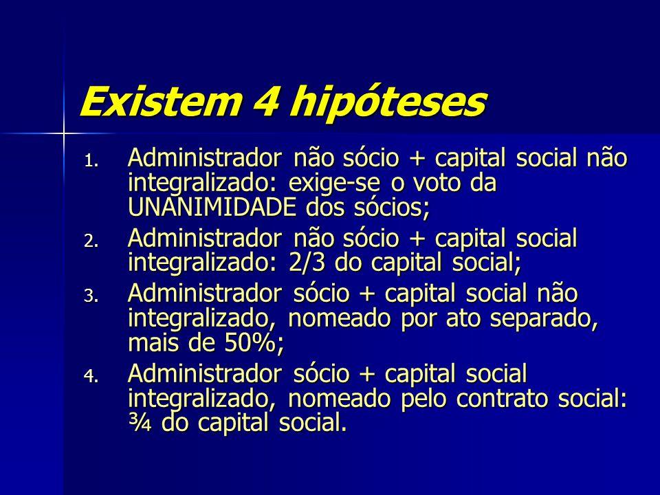 Existem 4 hipóteses Administrador não sócio + capital social não integralizado: exige-se o voto da UNANIMIDADE dos sócios;