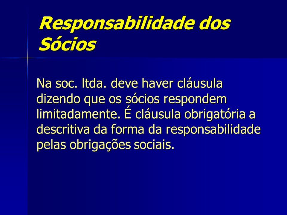 Responsabilidade dos Sócios