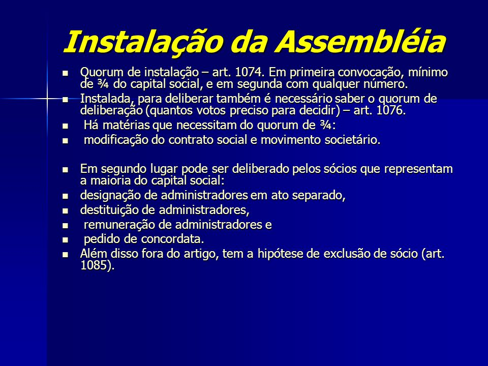 Instalação da Assembléia