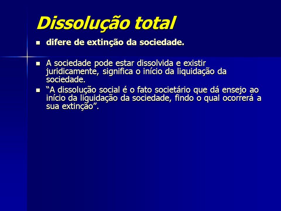 Dissolução total difere de extinção da sociedade.