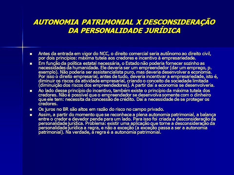 AUTONOMIA PATRIMONIAL X DESCONSIDERAÇÃO DA PERSONALIDADE JURÍDICA