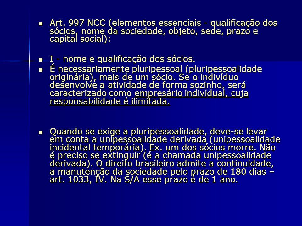 Art. 997 NCC (elementos essenciais - qualificação dos sócios, nome da sociedade, objeto, sede, prazo e capital social):