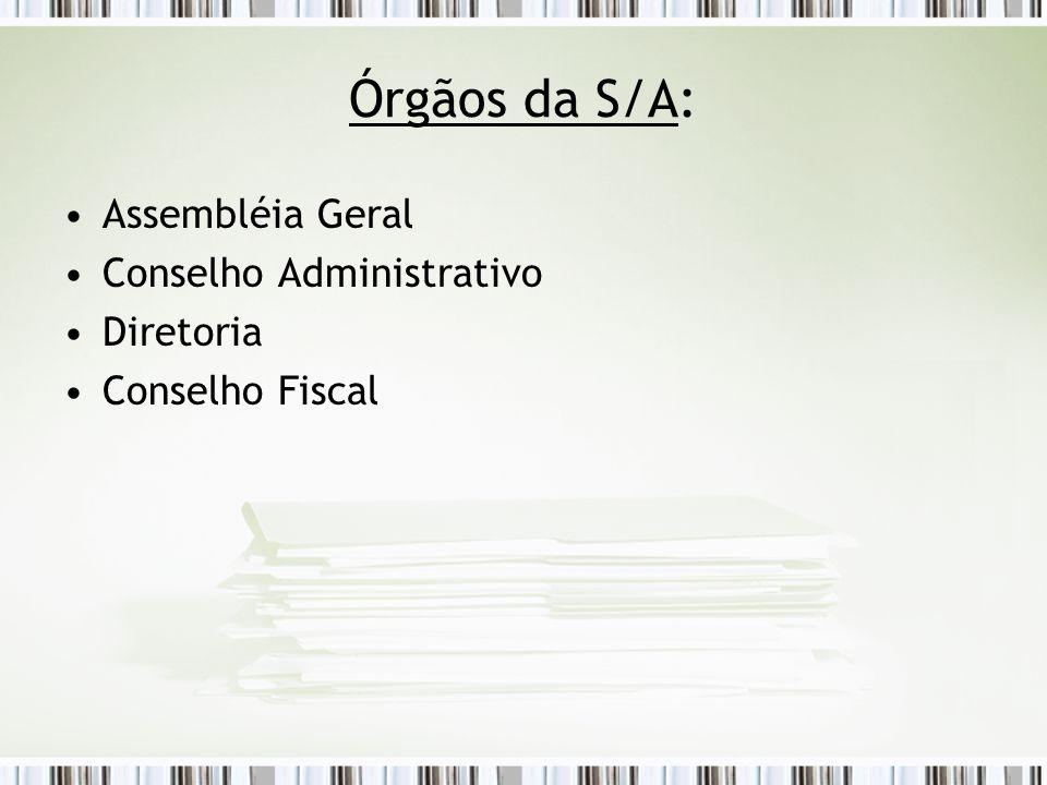 Órgãos da S/A: Assembléia Geral Conselho Administrativo Diretoria