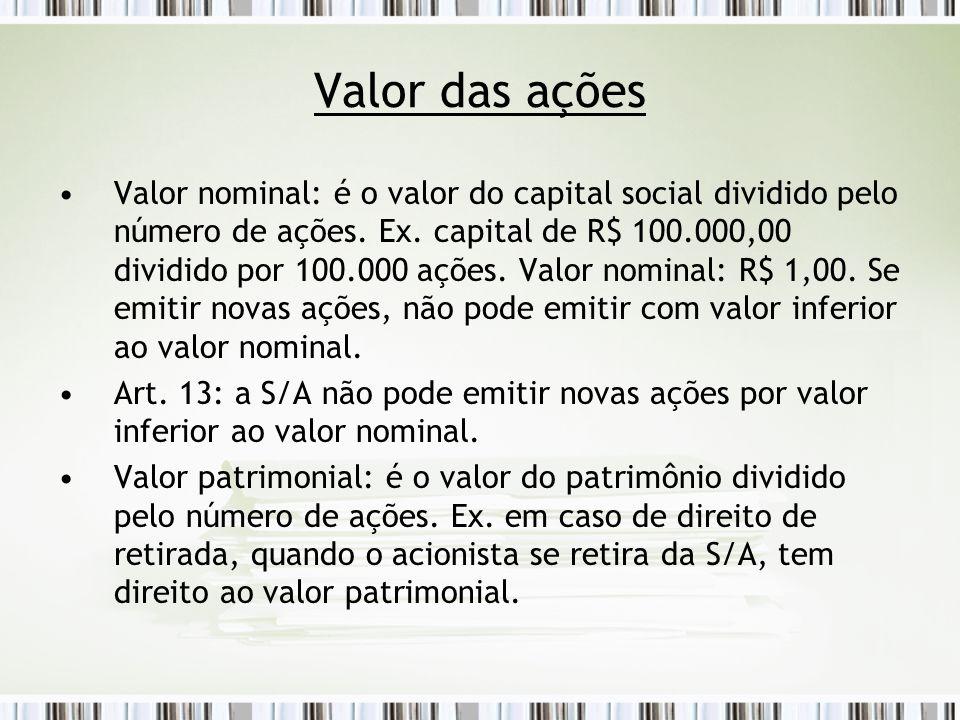 Valor das ações