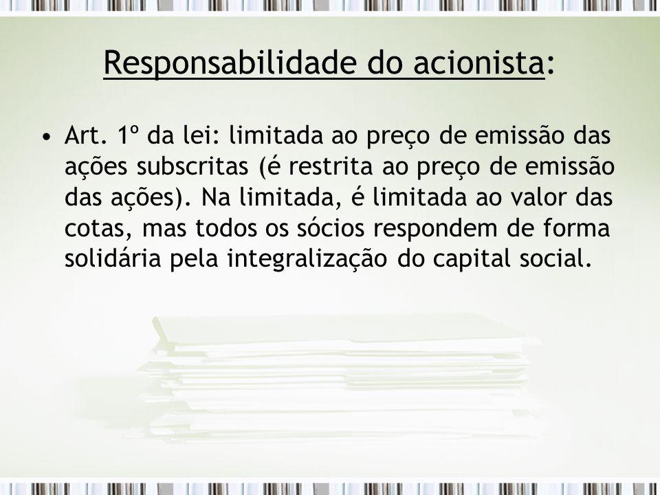 Responsabilidade do acionista: