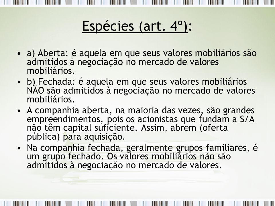 Espécies (art. 4º): a) Aberta: é aquela em que seus valores mobiliários são admitidos à negociação no mercado de valores mobiliários.