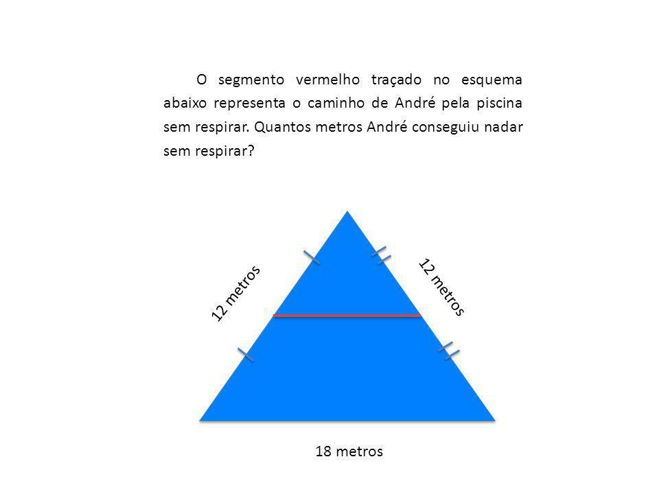 O segmento vermelho traçado no esquema abaixo representa o caminho de André pela piscina sem respirar. Quantos metros André conseguiu nadar sem respirar