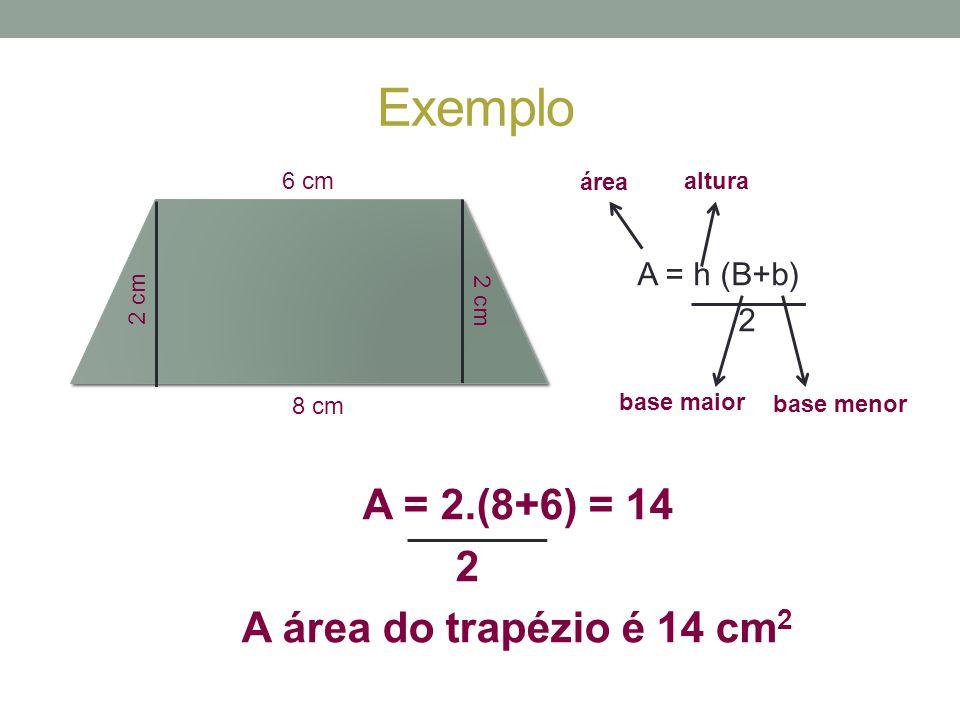 Exemplo A = 2.(8+6) = 14 2 A área do trapézio é 14 cm2 A = h (B+b) 2