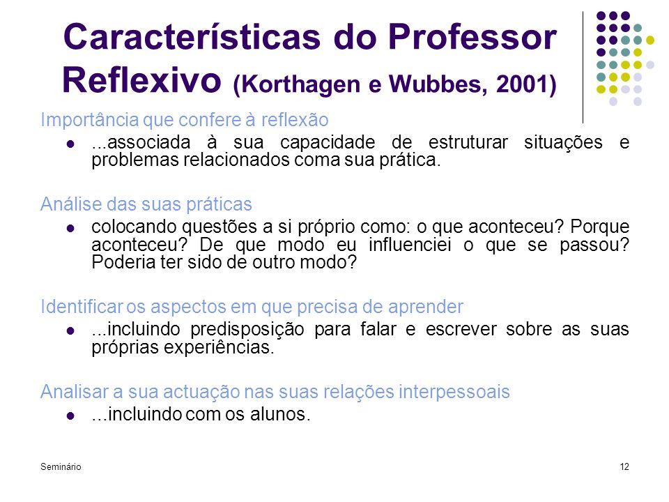 Características do Professor Reflexivo (Korthagen e Wubbes, 2001)