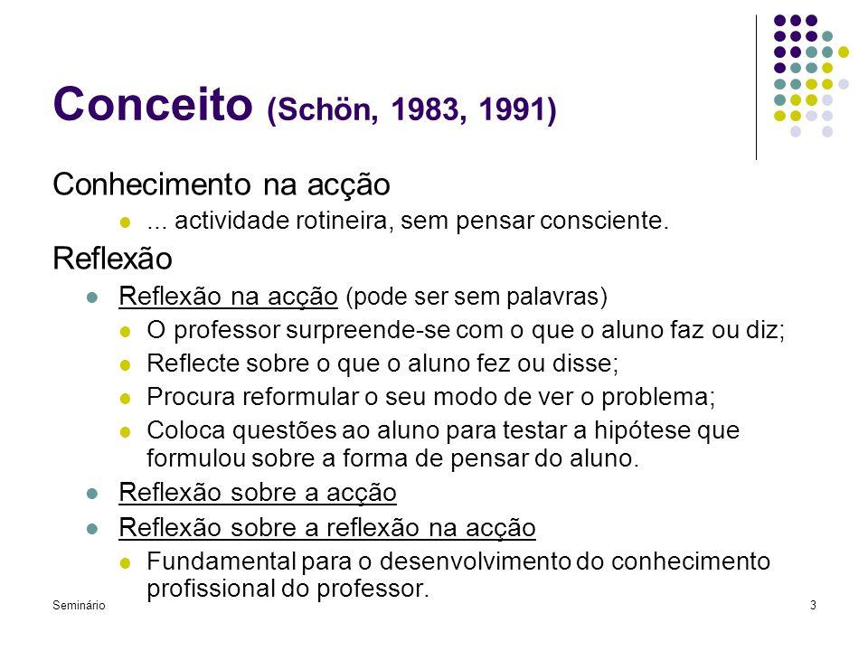 Conceito (Schön, 1983, 1991) Conhecimento na acção Reflexão