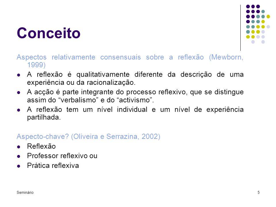 Conceito Aspectos relativamente consensuais sobre a reflexão (Mewborn, 1999)