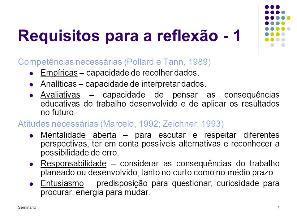 Requisitos para a reflexão - 1