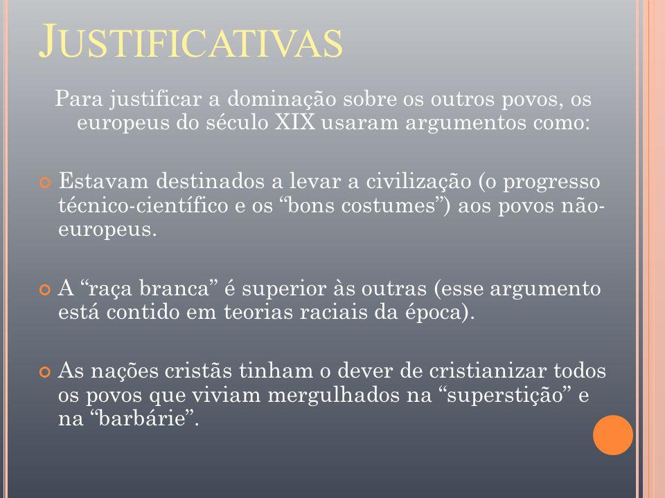 Justificativas Para justificar a dominação sobre os outros povos, os europeus do século XIX usaram argumentos como: