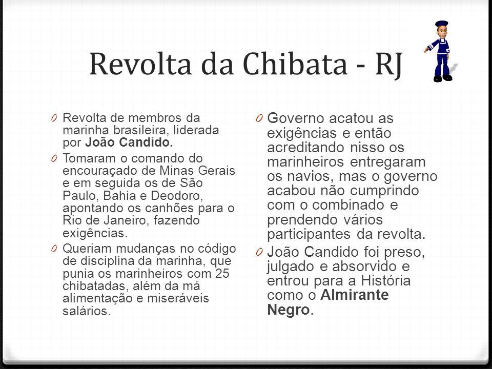 Revolta da Chibata - RJ Revolta de membros da marinha brasileira, liderada por João Candido.