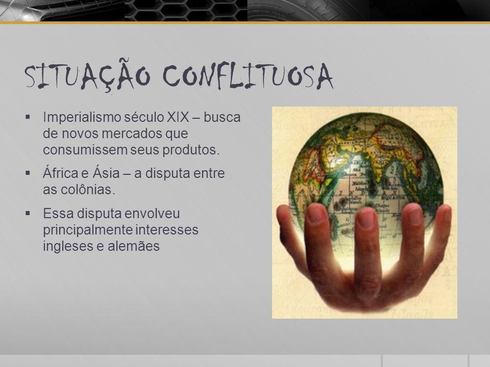 SITUAÇÃO CONFLITUOSA Imperialismo século XIX – busca de novos mercados que consumissem seus produtos.