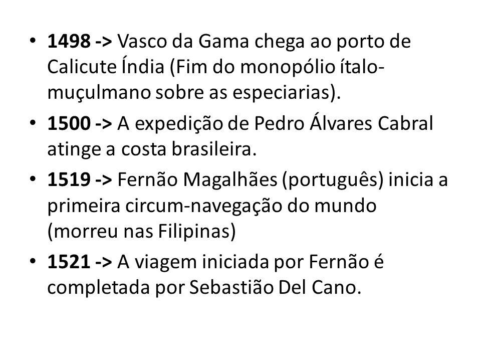 1498 -> Vasco da Gama chega ao porto de Calicute Índia (Fim do monopólio ítalo-muçulmano sobre as especiarias).