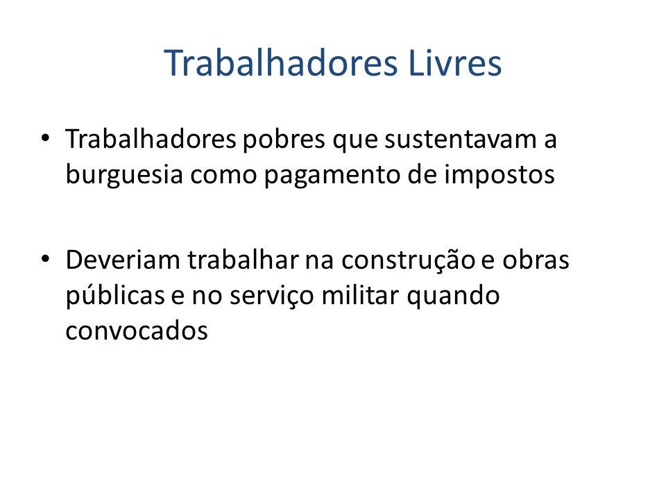 Trabalhadores Livres Trabalhadores pobres que sustentavam a burguesia como pagamento de impostos.