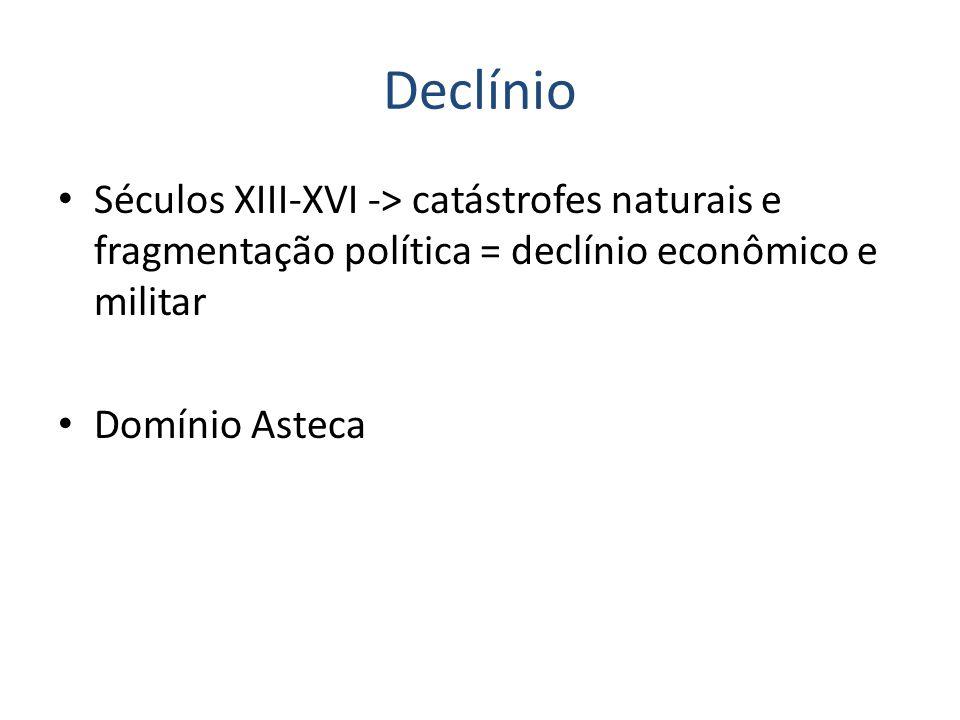 Declínio Séculos XIII-XVI -> catástrofes naturais e fragmentação política = declínio econômico e militar.