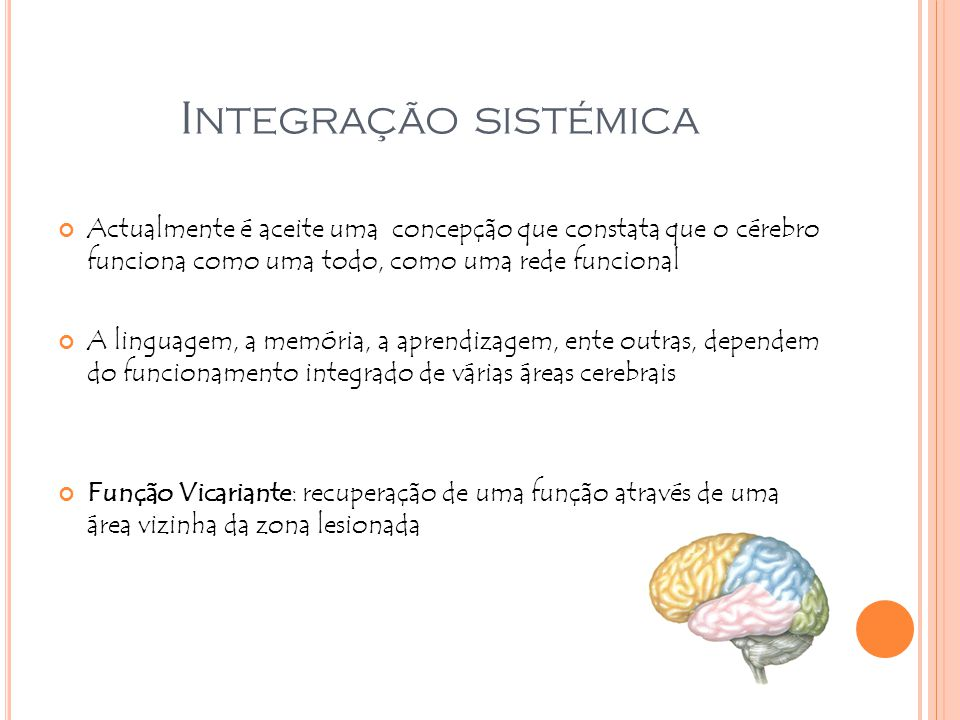 Integração sistémica Actualmente é aceite uma concepção que constata que o cérebro funciona como uma todo, como uma rede funcional.
