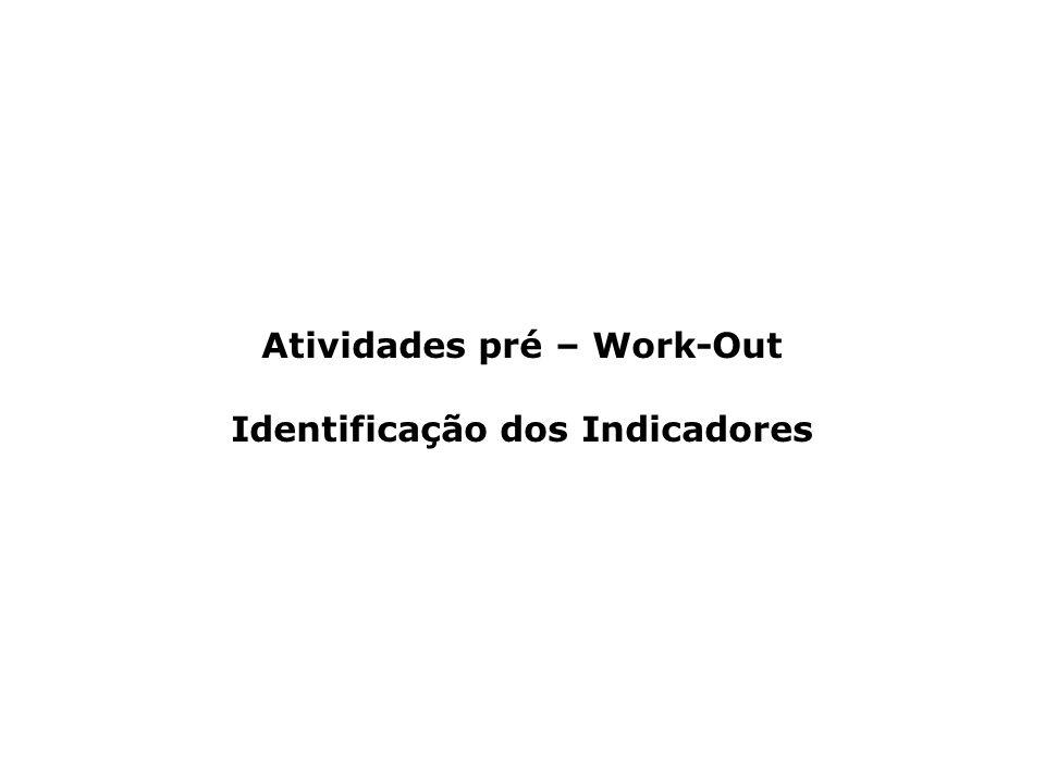 Atividades pré – Work-Out Identificação dos Indicadores