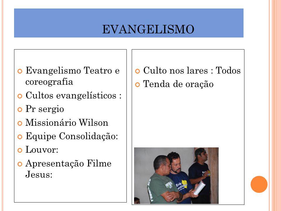 EVANGELISMO Evangelismo Teatro e coreografia Cultos evangelísticos :
