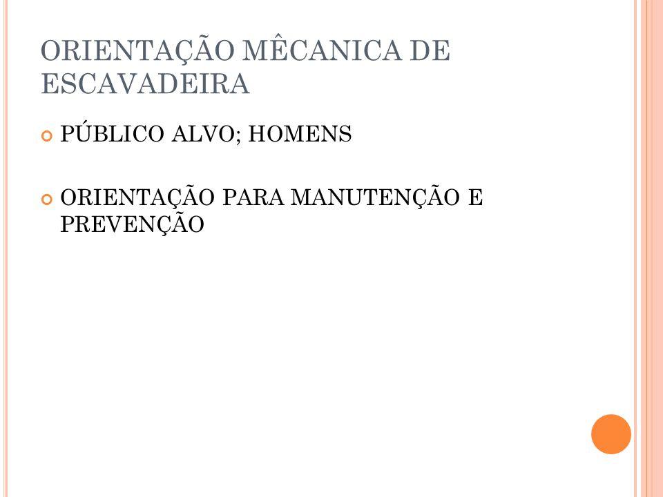ORIENTAÇÃO MÊCANICA DE ESCAVADEIRA
