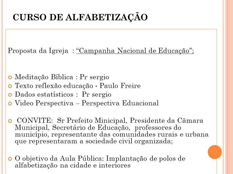 CURSO DE ALFABETIZAÇÃO