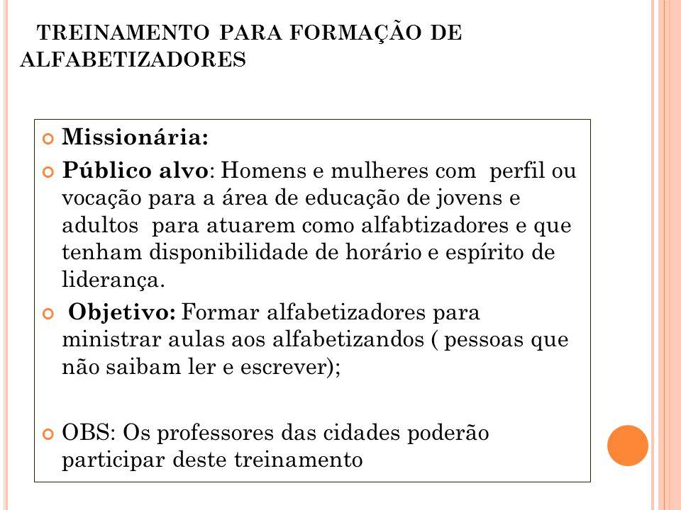 TREINAMENTO PARA FORMAÇÃO DE ALFABETIZADORES