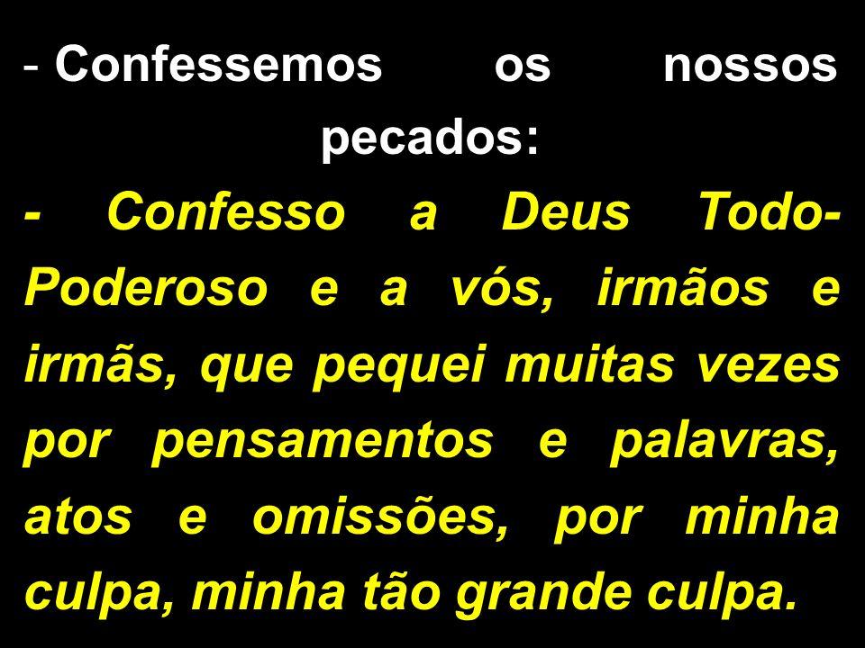 Confessemos os nossos pecados: - Confesso a Deus Todo-Poderoso e a vós, irmãos e irmãs, que pequei muitas vezes por pensamentos e palavras, atos e omissões, por minha culpa, minha tão grande culpa.