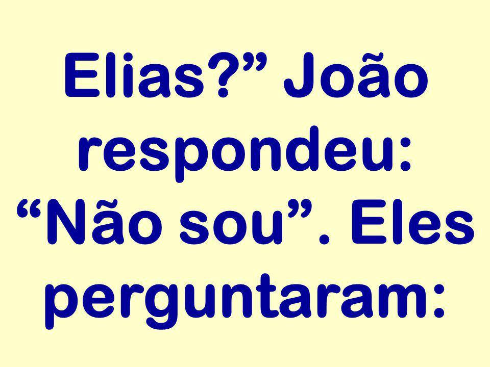 Elias João respondeu: Não sou . Eles perguntaram: