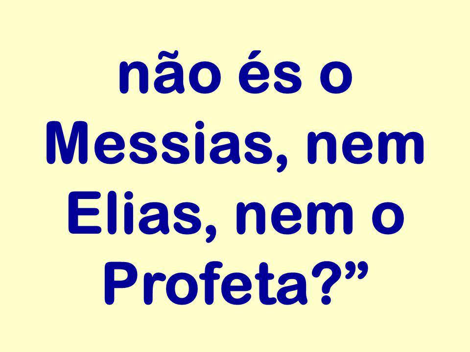 não és o Messias, nem Elias, nem o Profeta