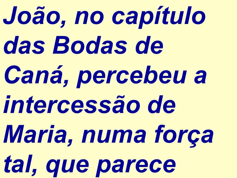 João, no capítulo das Bodas de Caná, percebeu a intercessão de Maria, numa força tal, que parece