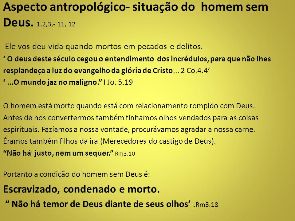 Aspecto antropológico- situação do homem sem Deus. 1,2,3,- 11, 12