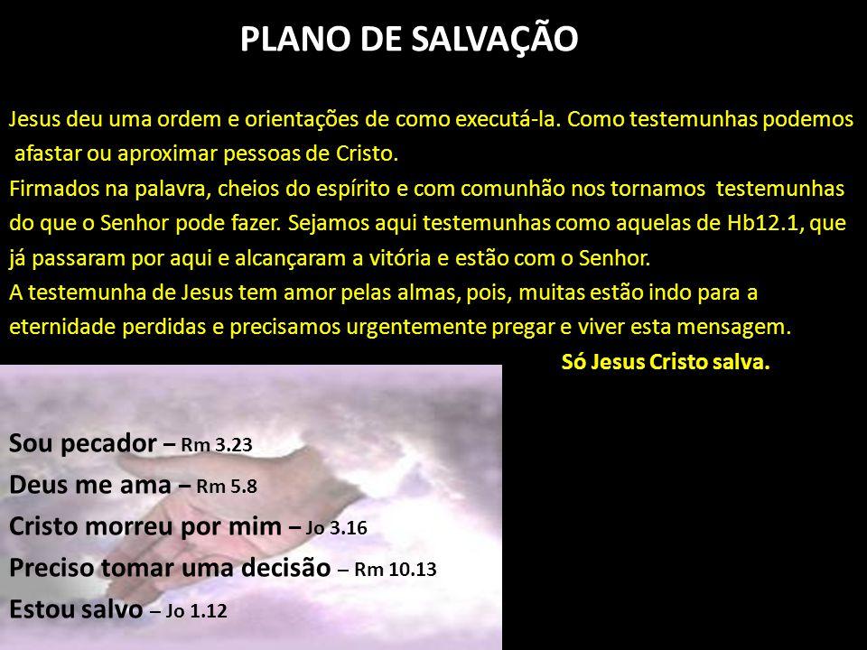 PLANO DE SALVAÇÃO Sou pecador – Rm 3.23 Deus me ama – Rm 5.8
