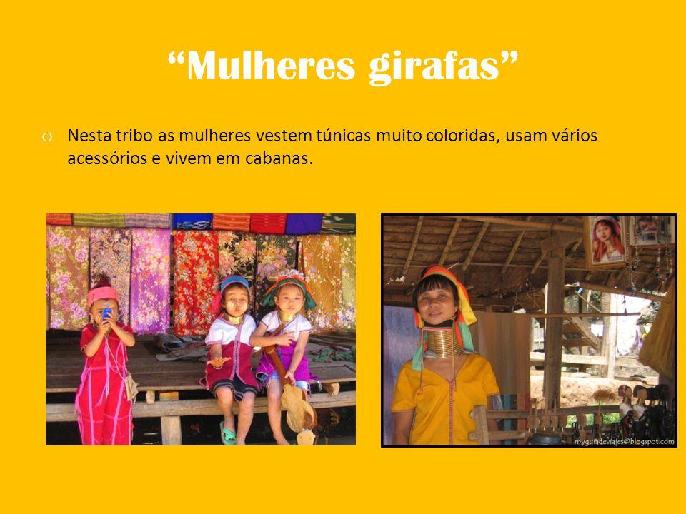 Mulheres girafas Nesta tribo as mulheres vestem túnicas muito coloridas, usam vários acessórios e vivem em cabanas.