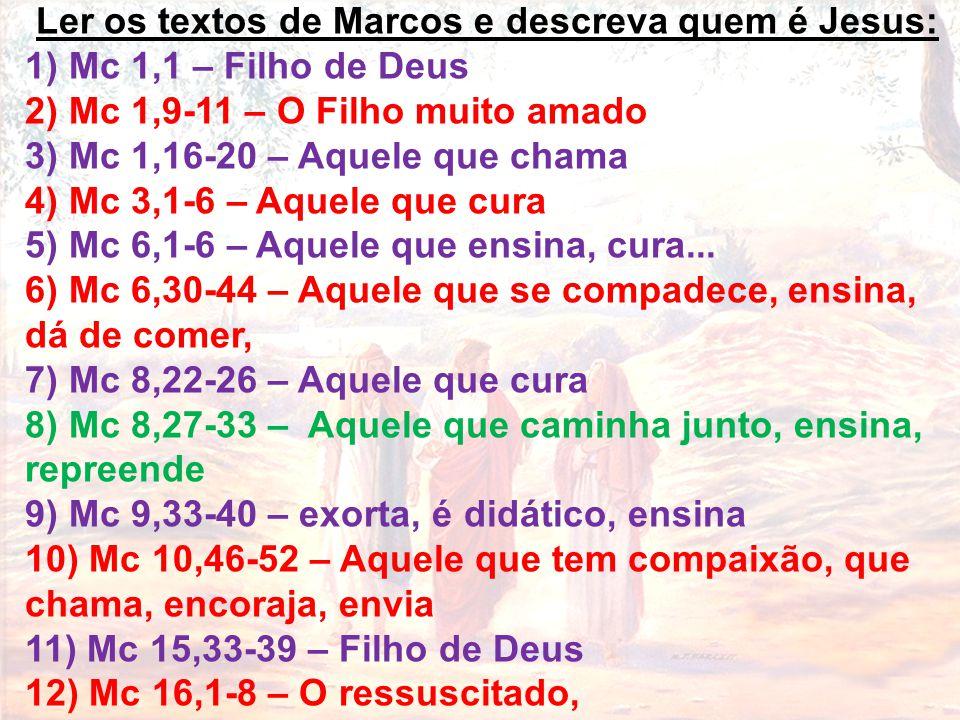Ler os textos de Marcos e descreva quem é Jesus: