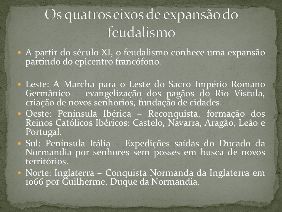 Os quatros eixos de expansão do feudalismo