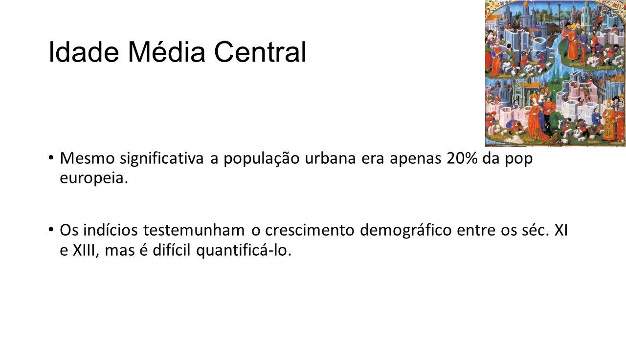 Idade Média Central Mesmo significativa a população urbana era apenas 20% da pop europeia.