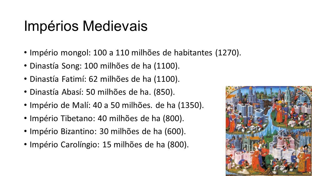 Impérios Medievais Império mongol: 100 a 110 milhões de habitantes (1270). Dinastía Song: 100 milhões de ha (1100).