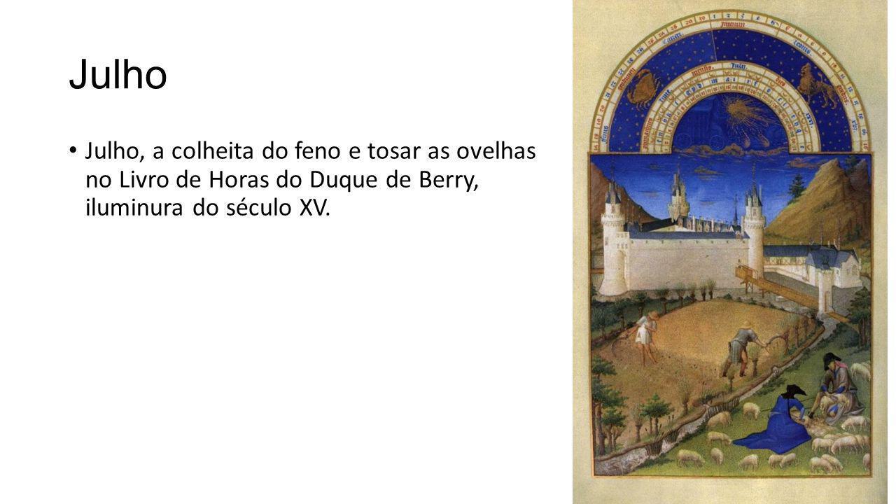 Julho Julho, a colheita do feno e tosar as ovelhas no Livro de Horas do Duque de Berry, iluminura do século XV.