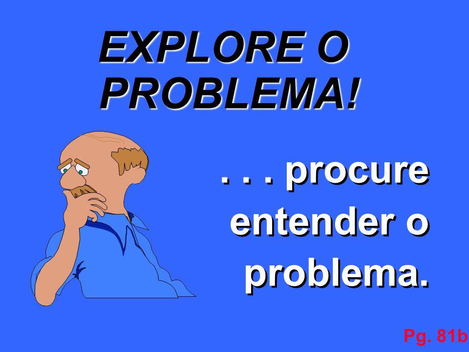 EXPLORE O PROBLEMA! . . . procure entender o problema. Pg. 81b