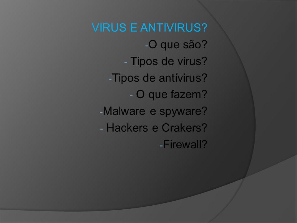 VIRUS E ANTIVIRUS O que são Tipos de vírus Tipos de antívirus O que fazem Malware e spyware