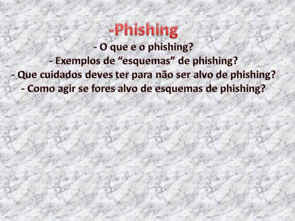 -Phishing - O que e o phishing. - Exemplos de esquemas de phishing