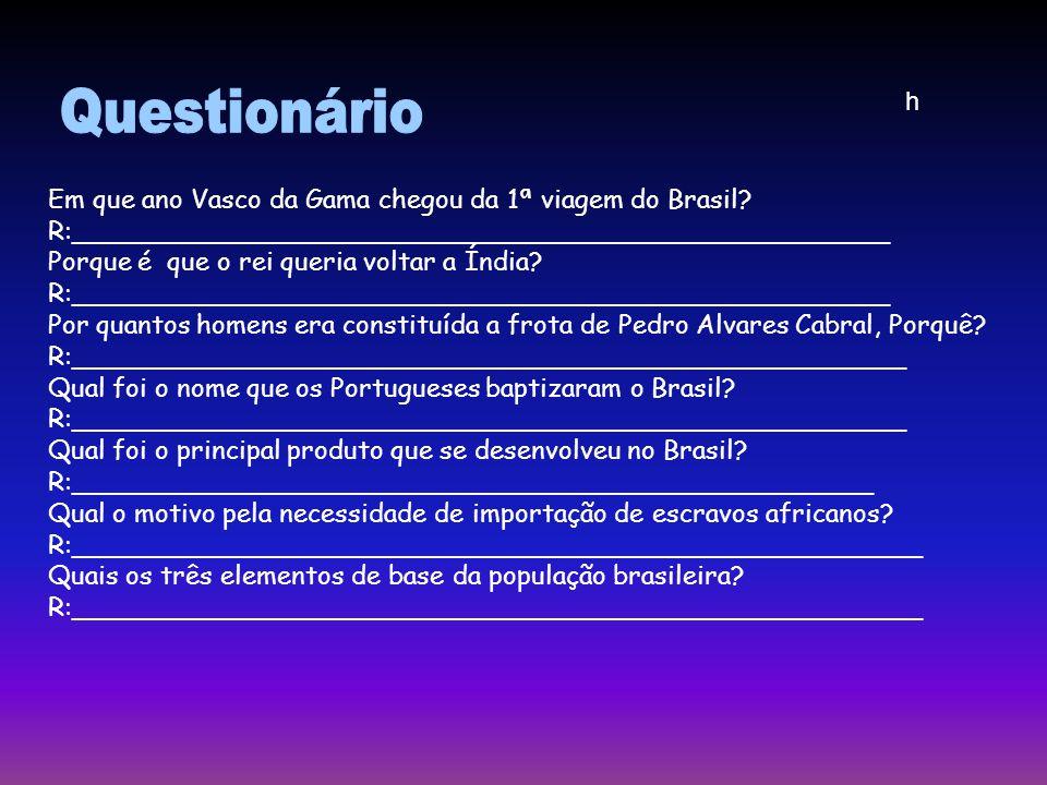 Questionário h Em que ano Vasco da Gama chegou da 1ª viagem do Brasil