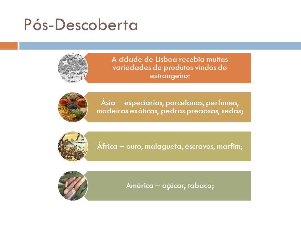 Pós-Descoberta A cidade de Lisboa recebia muitas variedades de produtos vindos do estrangeiro: