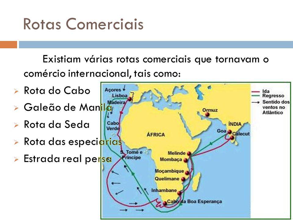 Rotas Comerciais Existiam várias rotas comerciais que tornavam o comércio internacional, tais como: