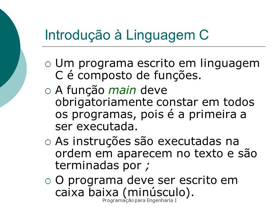 Introdução à Linguagem C