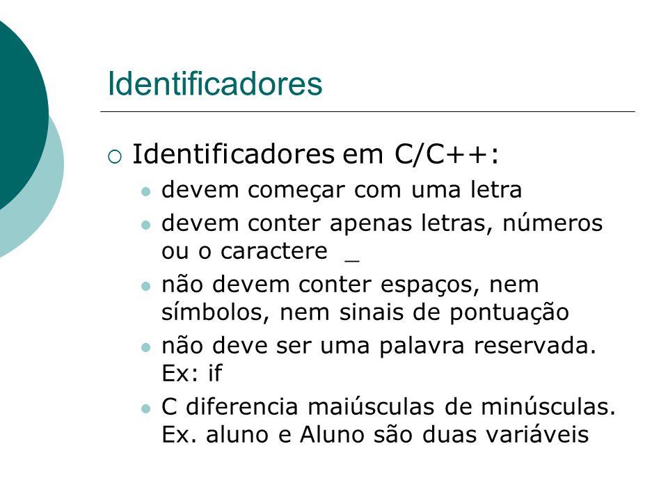 Identificadores Identificadores em C/C++: devem começar com uma letra