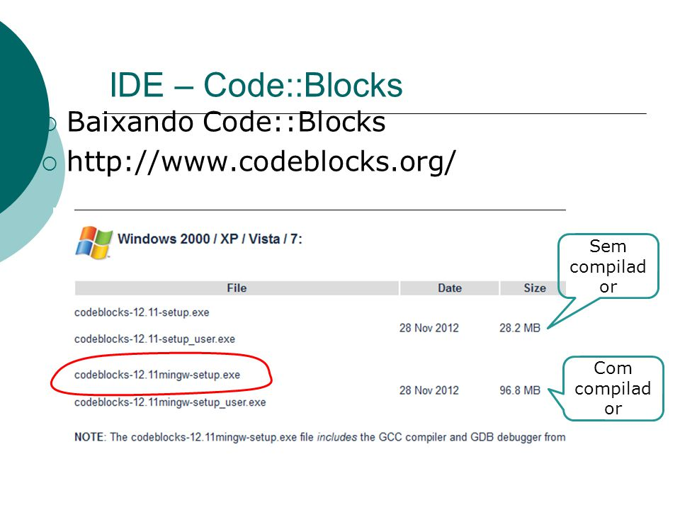 IDE – Code::Blocks Baixando Code::Blocks http://www.codeblocks.org/