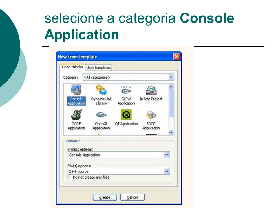 selecione a categoria Console Application